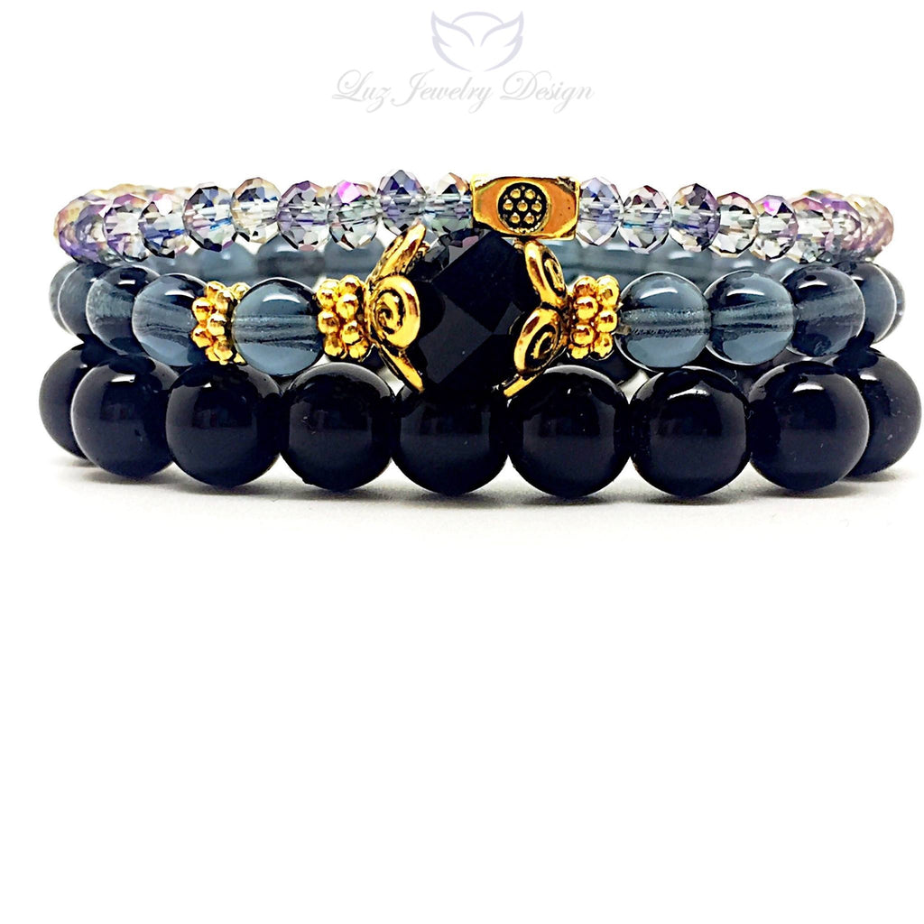 Black three set bracelet - Luzjewelrydesign