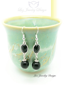 Black Silver Earrings - handcrafted Jewelry Luzjewelrydesign