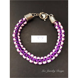 Purple macrame bracelet -purple satin bracelet - Luzjewelrydesign
