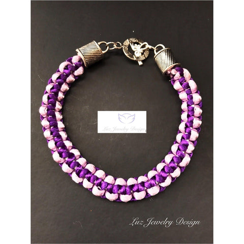 Purple macrame bracelet -purple satin bracelet