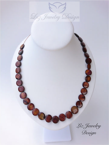 Brown pearl necklace, - June birthstone necklace