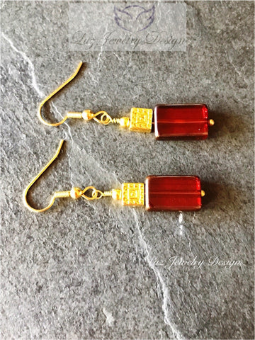 Square orange earrings - Red orange earrings