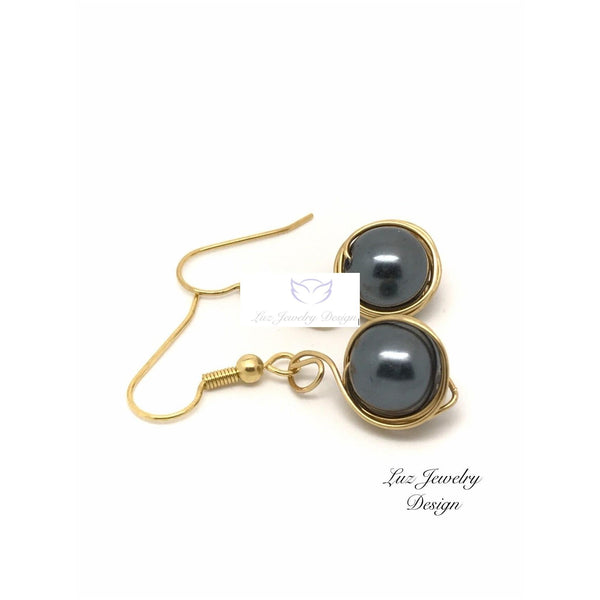 Black Pearl Earrings - handcrafted Jewelry Luzjewelrydesign