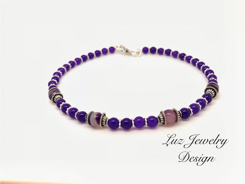 Lilac choker beaded - choker purple