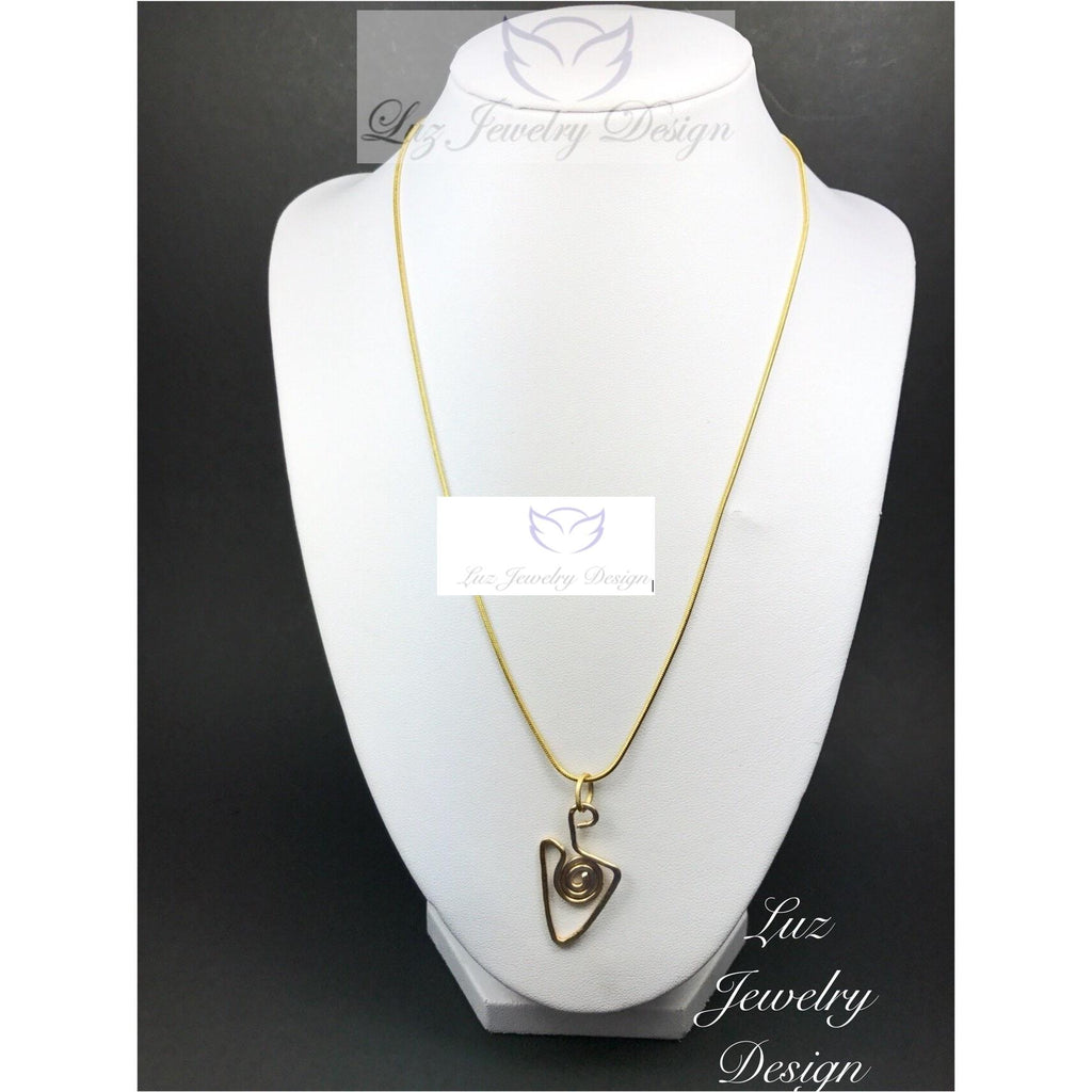Gold hammer necklace