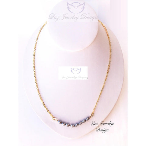 Grey pearl necklace - gift for mom