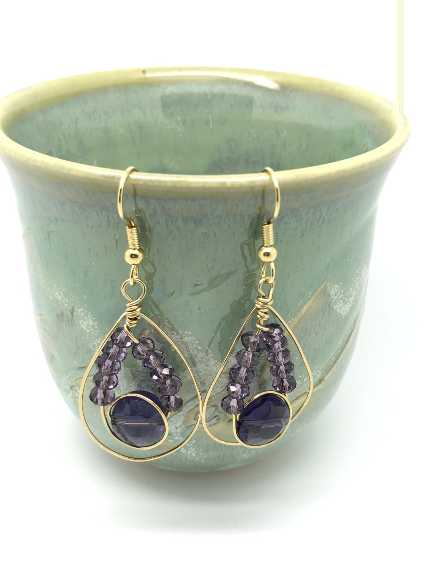 Purple earrings, purple gold earrings - Luzjewelrydesign