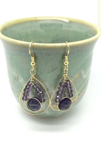 Purple earrings, purple gold earrings