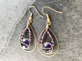 Purple earrings, purple gold earrings - handcrafted Jewelry Luzjewelrydesign