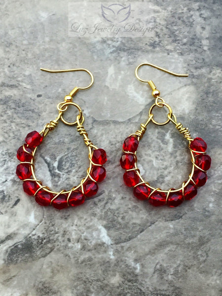 Red earrings outfit, red earrings - Luzjewelrydesign   - 2