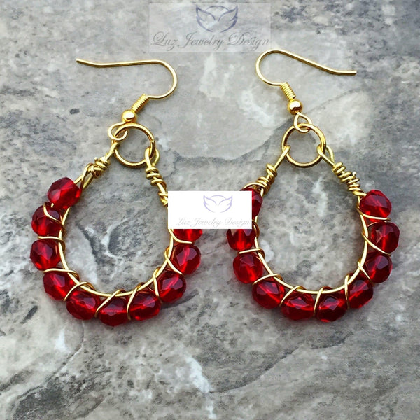 Red earrings outfit, red earrings - Luzjewelrydesign   - 4