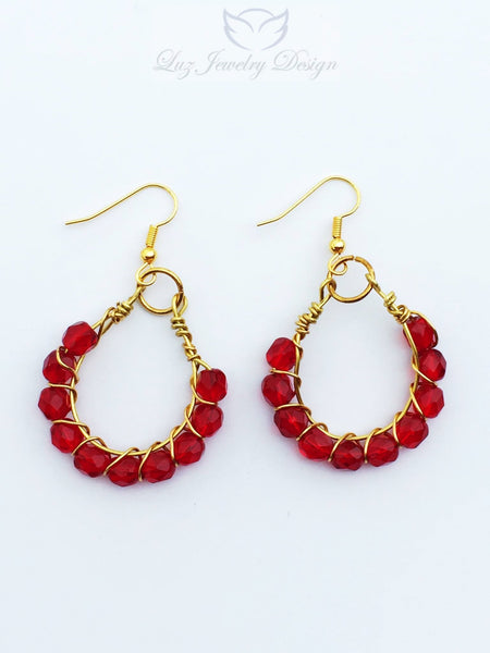 Red earrings outfit, red earrings - Luzjewelrydesign   - 5