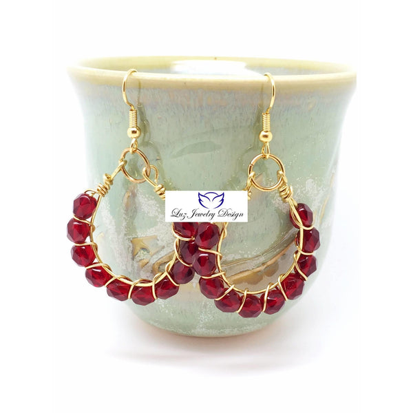 Red earrings outfit, red earrings - Luzjewelrydesign   - 3