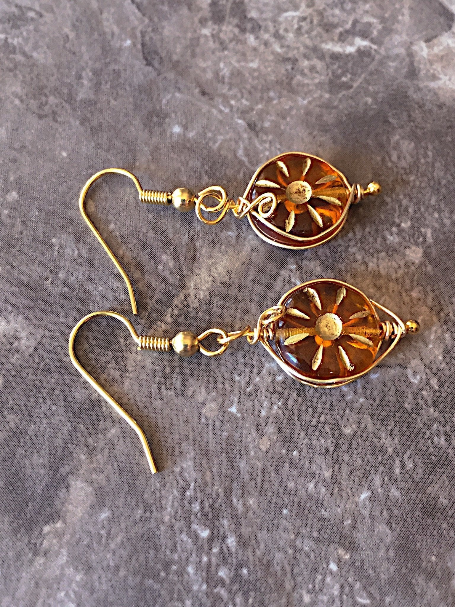 Honey orange gold earrings - handcrafted Jewelry Luzjewelrydesign
