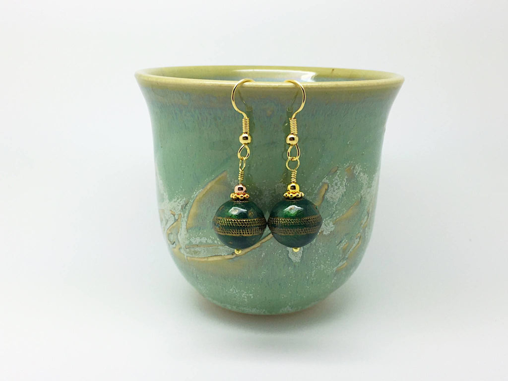 Dark green earrings - Luzjewelrydesign   - 1
