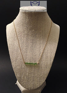 Gold fill green Swarovski necklace - handcrafted Jewelry Luzjewelrydesign
