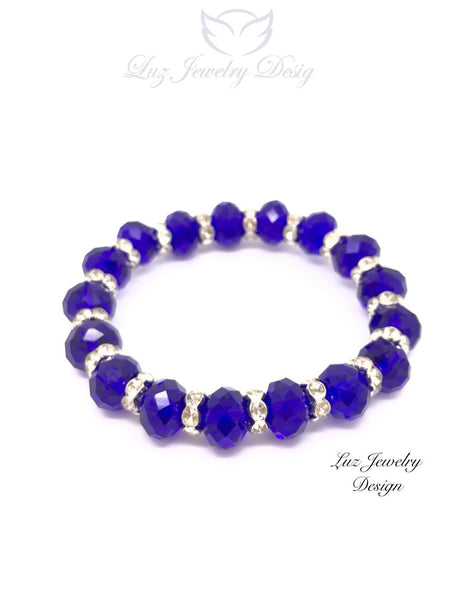 Blue Crystal Bracelet - Blue Bridal Bracelet, - handcrafted Jewelry Luzjewelrydesign
