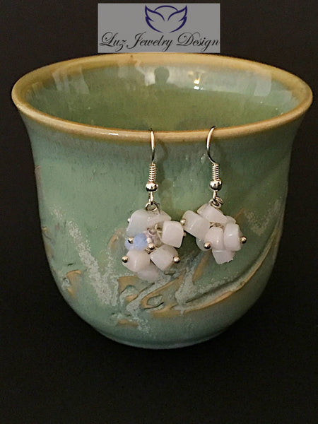 Clear white earrings - Luzjewelrydesign   - 3