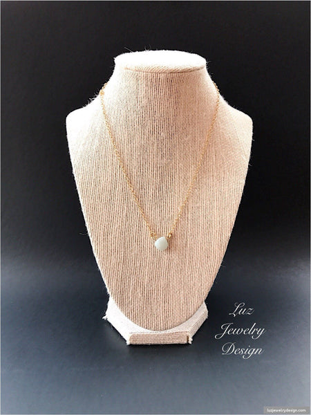 Amazonite 18k Gold Fill Necklace Handmade Pendant - handcrafted Jewelry Luzjewelrydesign