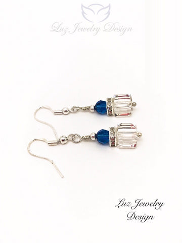 White blue earrings - White cube earrings