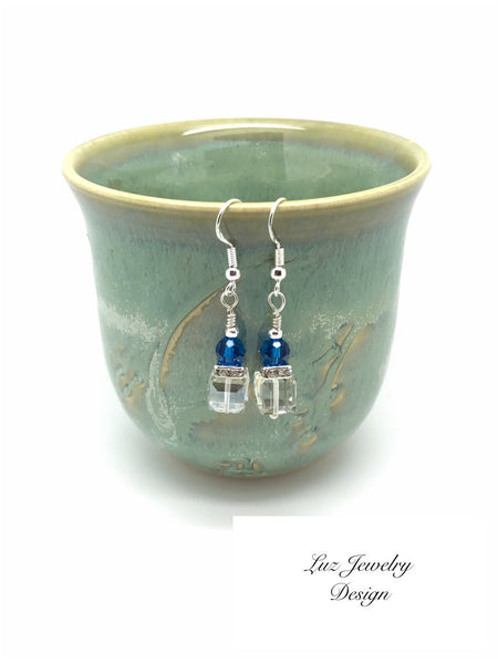White blue earrings - White cube earrings - Luzjewelrydesign