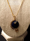 lapis lazuli gold wire wrapping necklace - Luzjewelrydesign   - 1