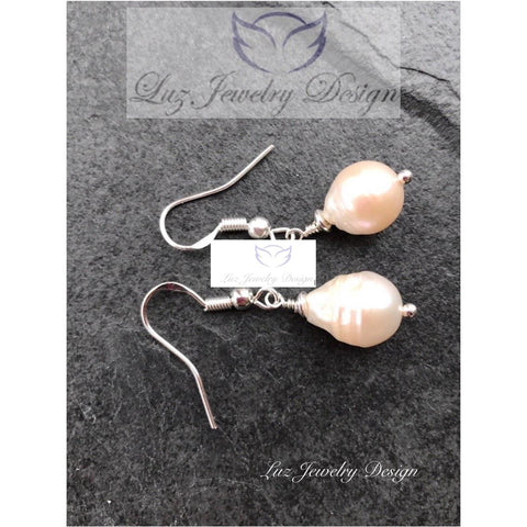 Pink freshwater pearl earrings - Pink pearl earrings,