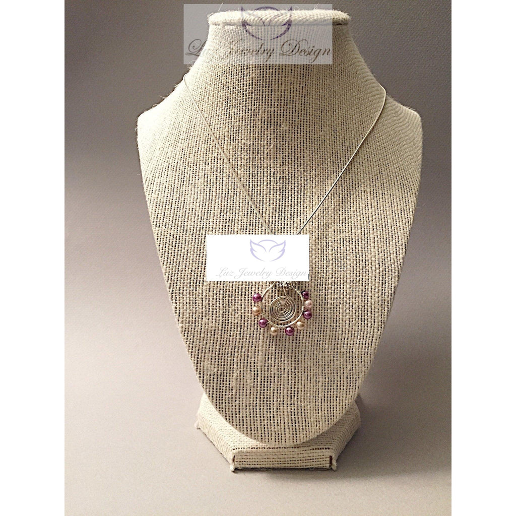 Pink pearl wire wrapping necklace - Luzjewelrydesign   - 1
