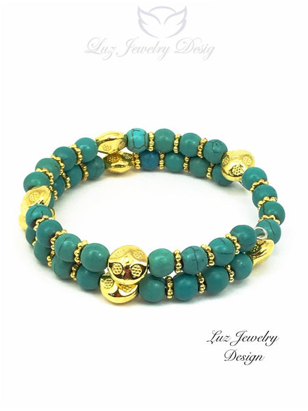 Turquoise memory Bracelet - Turquoise Bracelet - handcrafted Jewelry Luzjewelrydesign