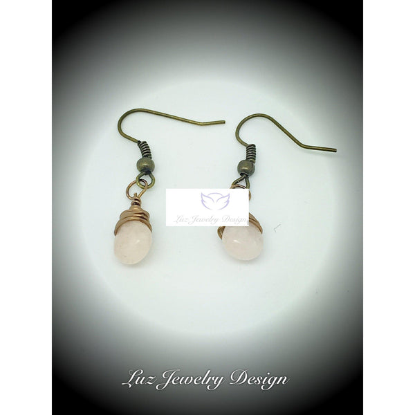 Pink jade wire wrapping earrings, - Luzjewelrydesign   - 2