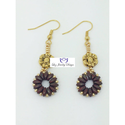 Brown super duo drop - Luzjewelrydesign   - 1