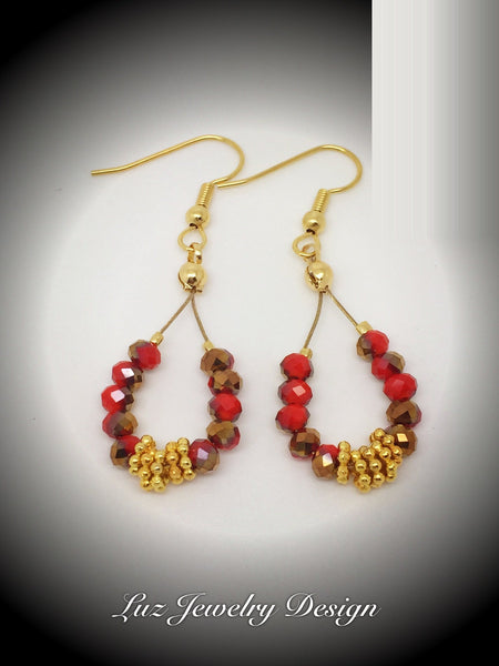 Red gold earrings - Luzjewelrydesign   - 2