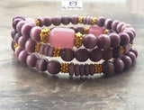 Purple cat eye and gold memory wrap bracelet - Luzjewelrydesign   - 2