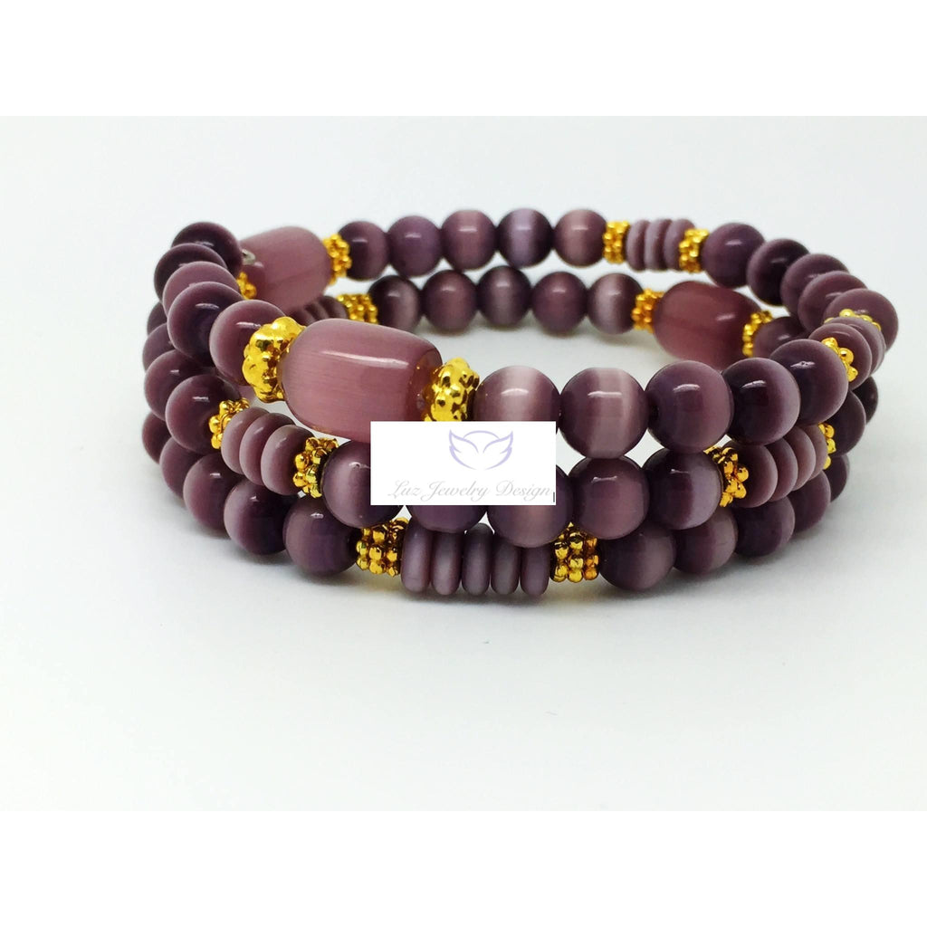 Purple cat eye and gold memory wrap bracelet - handcrafted Jewelry Luzjewelrydesign
