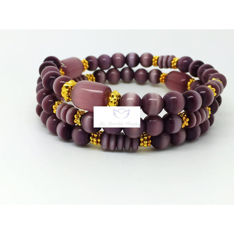 Purple cat eye and gold memory wrap bracelet