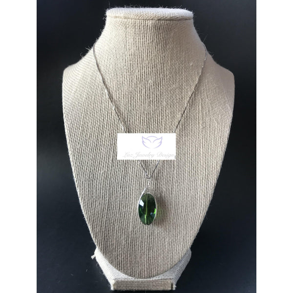 Green silver chain necklace - Luzjewelrydesign
