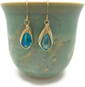 Blue Gold Earrings - handcrafted Jewelry Luzjewelrydesign
