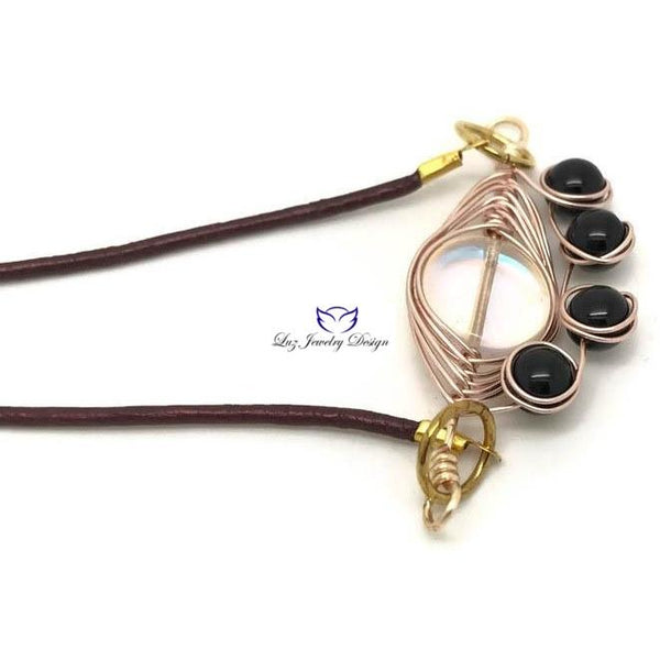 Brown leather necklace - handcrafted Jewelry Luzjewelrydesign