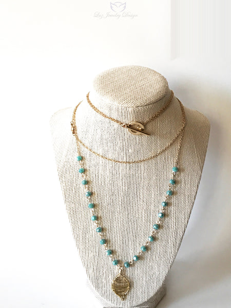 Long blue boho necklace, Long Boho necklace - Luzjewelrydesign