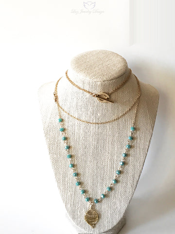 Long blue boho necklace, Long Boho necklace