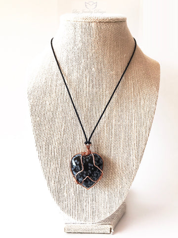 Black Heart Wire Wrapped Glass Necklace