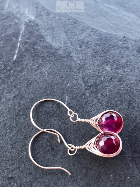 Pink Agate Wire Wrapped Earrings, Pink earrings - Luzjewelrydesign