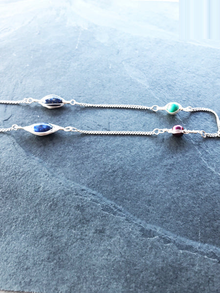 Long Silver Boho Necklace - handcrafted Jewelry Luzjewelrydesign