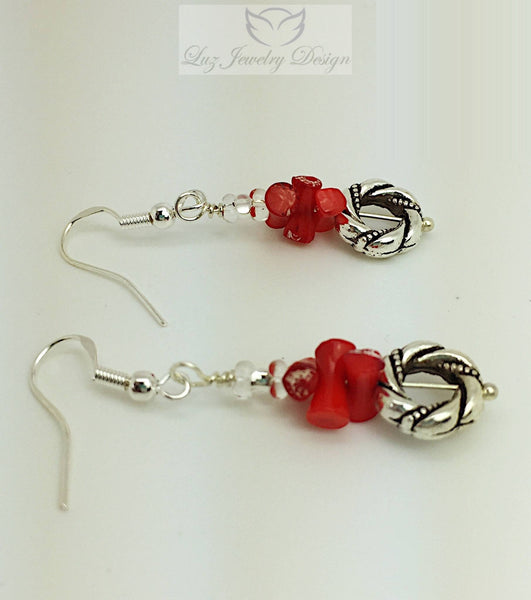 Red and Silver Coral Earrings - Luzjewelrydesign