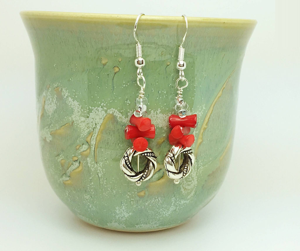 Red and silver coral earrings - Luzjewelrydesign   - 1