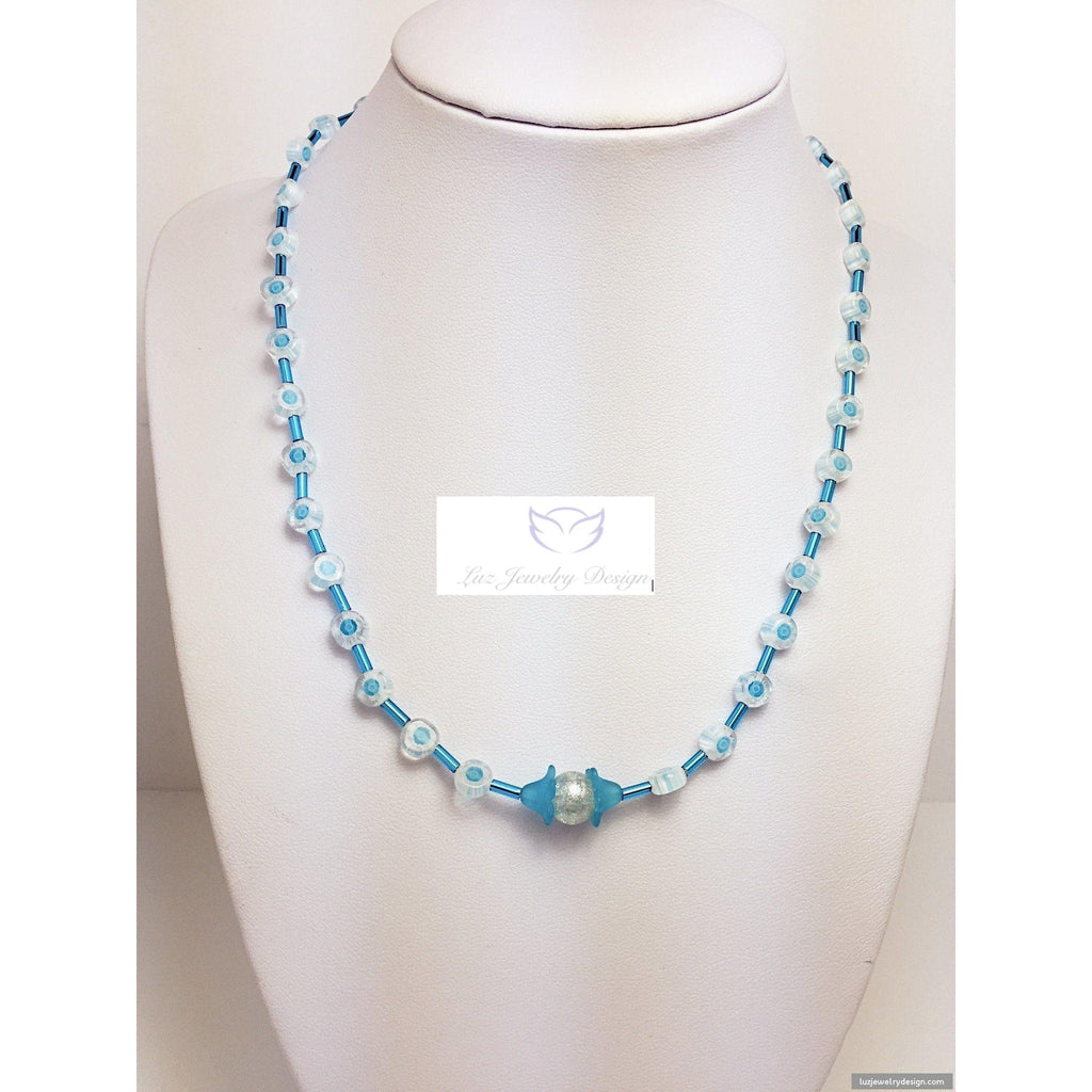 Baby blue children necklace - handcrafted Jewelry Luzjewelrydesign