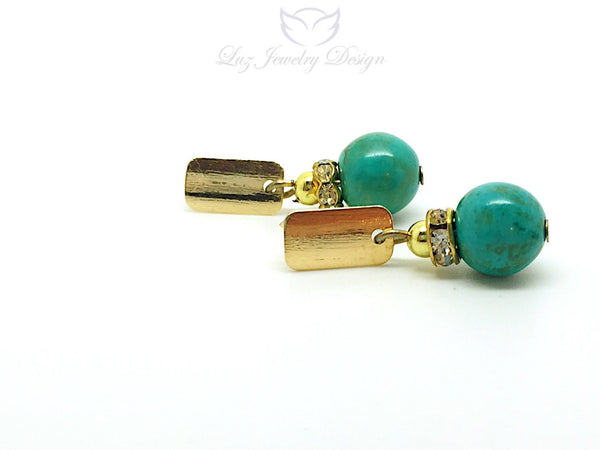 Turquoise gold plated earrings, turquoise earrings studs - Luzjewelrydesign   - 1