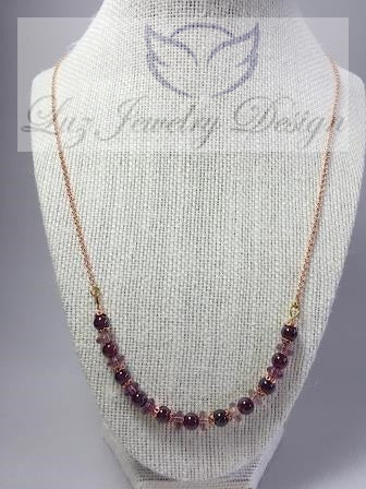 Garnet necklace - handcrafted Jewelry Luzjewelrydesign