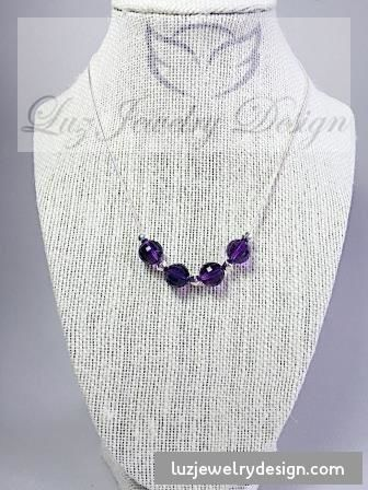 Amethyst birthstone necklace - Luzjewelrydesign