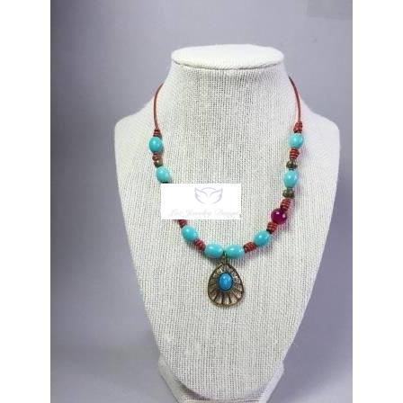 Boho red leather with turquoise necklace - handcrafted Jewelry Luzjewelrydesign